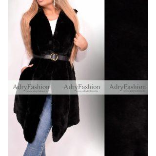 Manuela fekete színű műszőrme mellény övvel