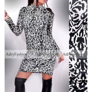 Zoé elöl húzott fekete fehér garbós női ruha