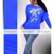 X-FACTORY FASHION kék ezüst mintázott denevér fazonú női felső S-es