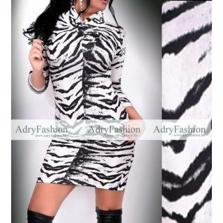 Rensix fekete fehér mintás nyakánál csavart női ruha