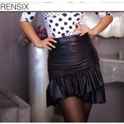 Rensix loknis fodros női szoknya fekete bőrhatású