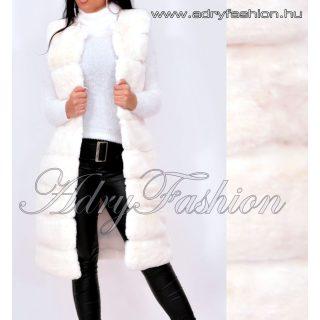 Fehér Hosszú Finom puha szőrme mellény rövid szőrű fehér