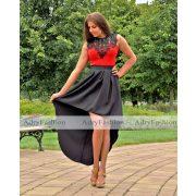 Piros fekete színű elegáns csipke díszes alkalmi body
