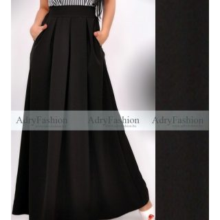 Fekete színű elegáns alkalmi maxi szoknya zsebes maxi- felső nélkül