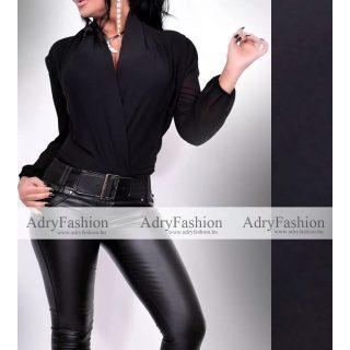 Fekete színű muszlin Hosszú ujjú alkalmi body