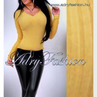 Mustár sárga V kivágott  vékony kötött bordás női felső