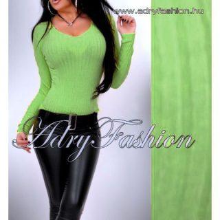 Kiwi zöld V kivágott  vékony kötött bordás női felső