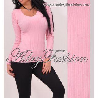 Rózsaszín V kivágott  vékony kötött bordás női felső