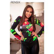 Rensix matyó mintás poliamid felső kerek nyakú