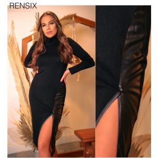 Rensix kötött bőrbetétes női ruha fekete