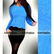 Türkiz kék szőrmés finom kötött pulóver mohair jellegű