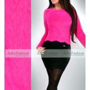 Pink szőrmés finom kötött pulóver mohair jellegű