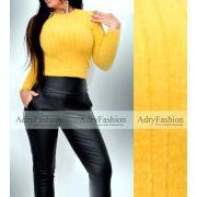 Mohair jellegű bordás finom kötött mustársárga pulóver