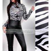 Fekete fehér zebrás garbós body  jégselyem