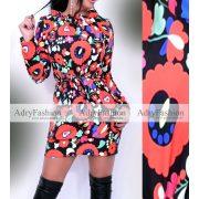 Fekete matyó virág mintás megkötős női ruha