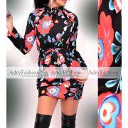 Fekete  kék virág mintás megkötős női ruha