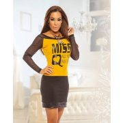 MISSQ AJSA női ruha mustár - fekete