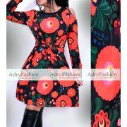 Fekete alapon nagy virág mintás vállánál nyitott női ruha megkötős
