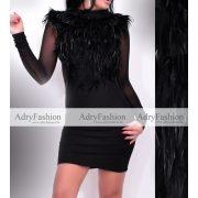 Fekete toll díszes alkalmi női ruha S es méret