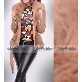 Homok barna szőrme béléses irha jellegű velúros kabát