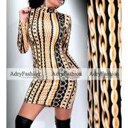 Fekete alapon sárga arany lánc mintás jégselyem  garbós női ruha