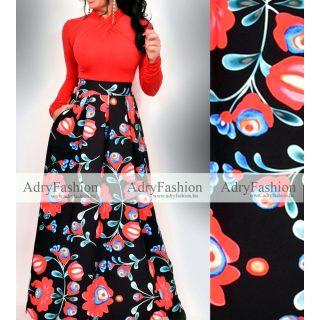 Fekete kék piros mintás zsebes maxi szoknya matyó mintás