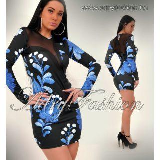 RENSIX Kék Kalocsai mintás női ruha mellén tüll betéttel