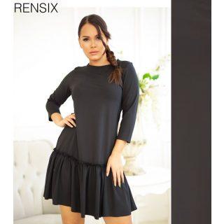 Rensix Fekete A - vonalú alul fodros lenge női ruha