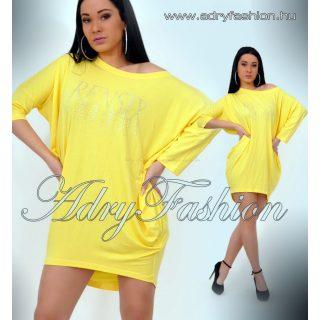 RENSIX Citromsárga Pamut lenge női ruha strassz márka jelzéssel