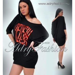 RENSIX Fekete Pamut lenge női ruha Piros film nyomott márka jelzés