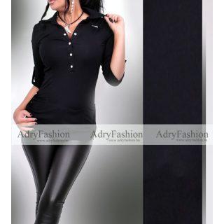 RENSIX fekete ing pamut patentos felső L-es