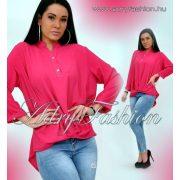 Erős pink színű elöl csavart hátul hosszabb laza női ing gomb dísszel