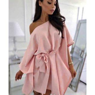 Rózsaszín lenge lepel ruha derekán megkötős