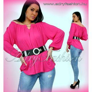 Pink pamut laza vállra húzható pamut női felső