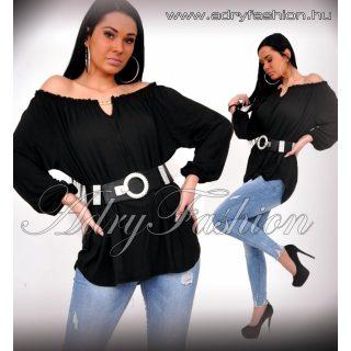 Fekete pamut laza vállra húzható pamut női felső