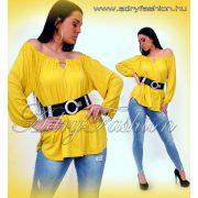 Sárga pamut laza vállra húzható pamut női felső