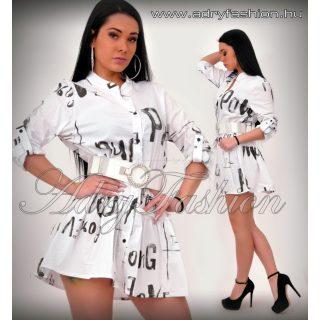 Fehér fekete írásos ingruha - ÖV NÉLKÜL