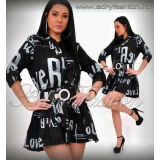 Fekete fehér írásos ingruha - ÖV NÉLKÜL