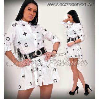 Fekete fehér mintás ingruha - öv nélkül