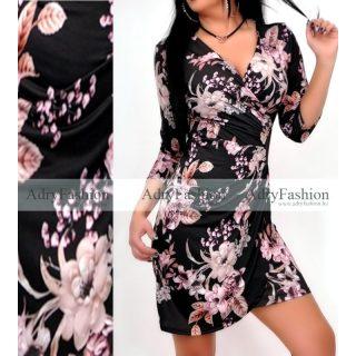 Fekete alapon pink virágos átlapolt csinos női ruha