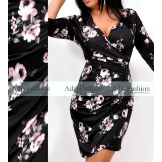 Fekete alapon rózsaszín virág mintás átlapolt csinos női ruha