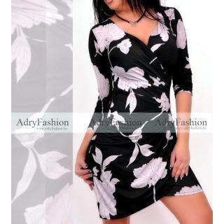 Fekete fehér virág mintás átlapolt csinos női ruha
