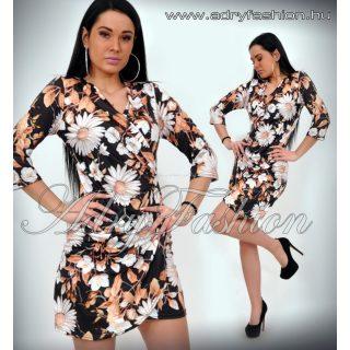 Fekete alapon margaréta virág mintás átlapolt csinos női ruha