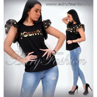 Fekete pamut arany feliratos ujján pöttyös hullám fodros női felső