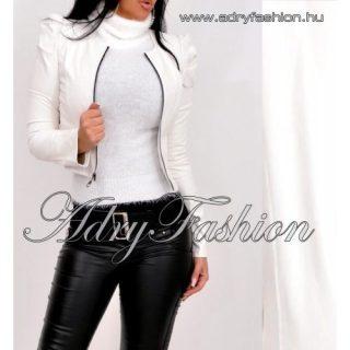 Fehér buggyos ujjú cipzáros műbőr női blézer zakó