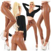 Csau barna bőrhatású derekánál megkötős női nadrág
