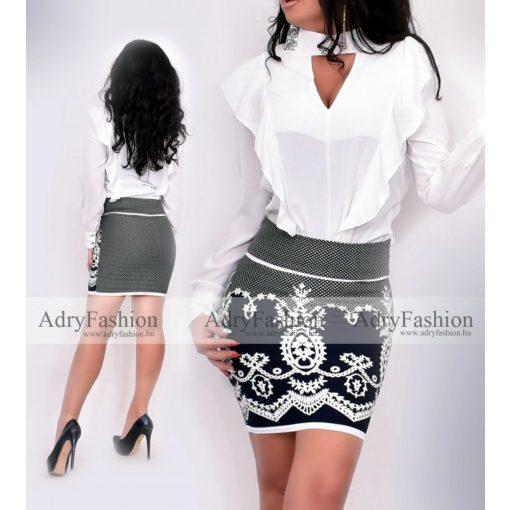 Fehér színű elegáns dupla fodros női blúz - szoknya nélkül