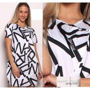 Warp Zone Fehér alapon fekete írásos poliamid ruha strassz gombdíszes