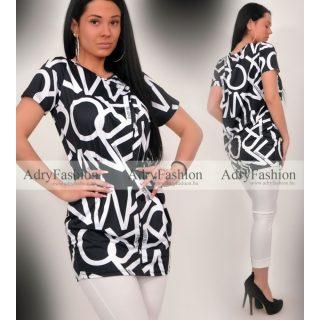 Warp Zone Fekete fehér írásos poliamid ruha strassz gomb díszes