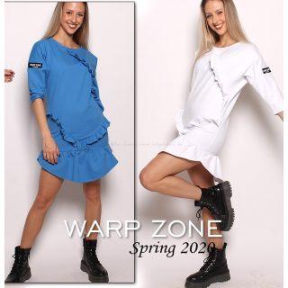 Warp Zone Fehér pamutos fodros laza női tunika